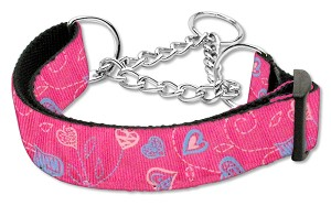Crazy Hearts Nylon Collars Martingale Bright Pink Large